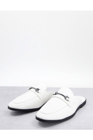 ASOS DESIGN Hombre Mocasines - Backless mule loafer in white faux leather
