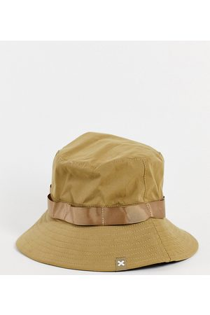 Collusion Unisex fisherman hat with chin tie in stone