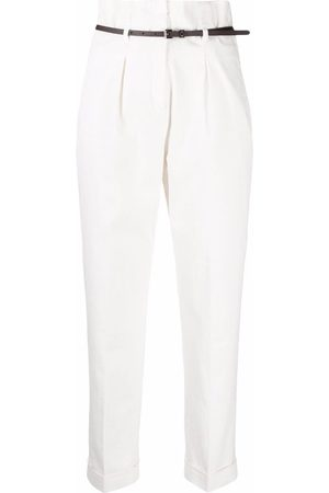 PESERICO SIGN High-waisted belted tailored trousers
