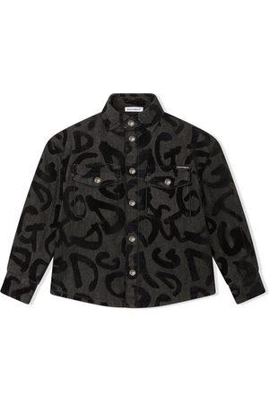 Dolce & Gabbana Kids Camisa con logo estilo grafiti