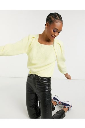 Selected Femme organic cotton square neck jumper in yellow