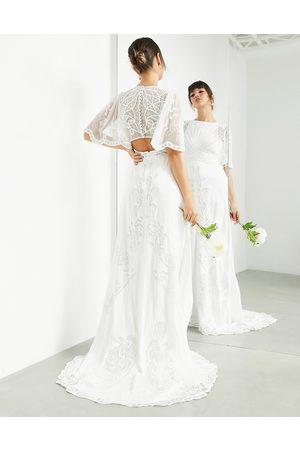 ASOS EDITION Savannah vintage embroidered wedding dress with flutter sleeve