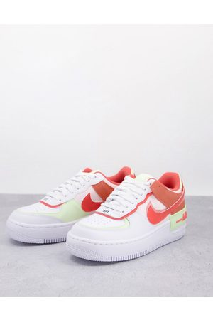 Nike Mujer Tenis - Air Force 1 Shadow trainers white coral and orange
