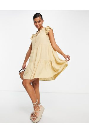 Pieces Tie neck mini smock dress in