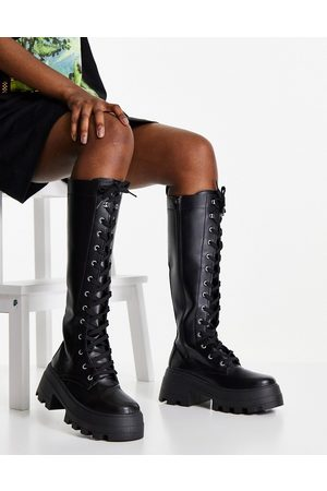 ASOS Carter chunky lace up knee boots in black