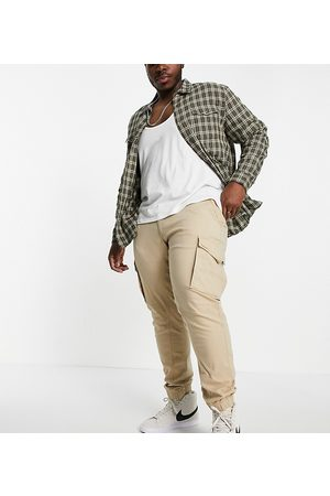 jack & jones Hombre Cargo - Intelligence cuffed cargo trousers in tan organic cotton Exclusive at ASOS