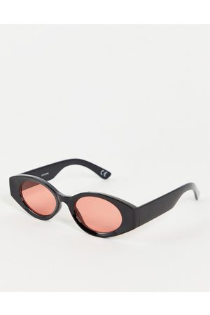 ASOS Hombre Lentes de sol - Mid oval sunglasses in black with red lens
