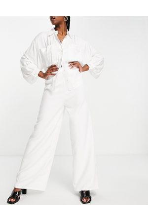 Lasula Mujer Leggings y treggings - Wide leg co ord in white