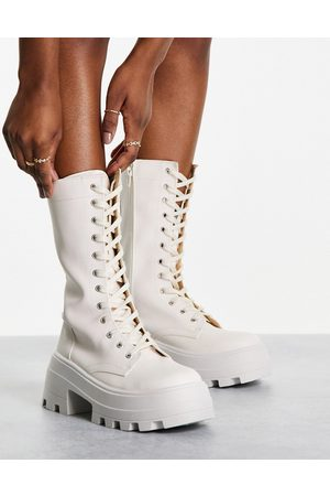 ASOS Aurora chunky lace up boots in off white