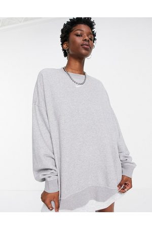 Nike Mini swoosh longline sweatshirt in grey