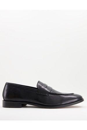 ASOS Hombre Mocasines - Black leather penny loafer