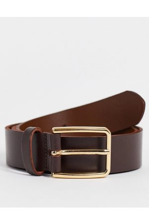 ASOS Leather slim belt in brown with gold buckle