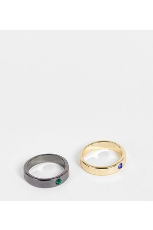 Reclaimed Inspired band rings with stones in mixed metal 2 pack