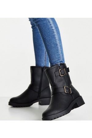 ASOS Wide Fit Amber pull on hiker boots in black