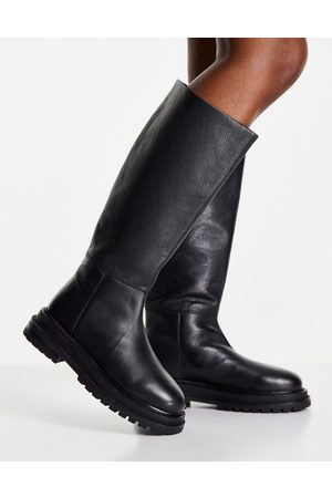 ASOS Cameo premium leather pull on knee boots in black
