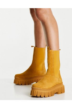 ASOS Addison premium suede chunky chelsea boots in camel