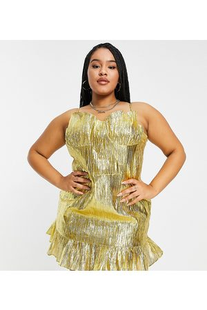 Collective the Label Curve Exclusive cupped metallic mini dress in gold