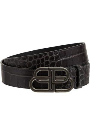 """Balenciaga Cinturón """"bb"""" De Piel Efecto Cocodrilo 3.8cm"""