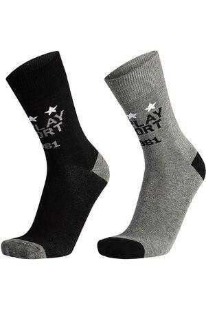 Replay Hombre Calcetines - Calcetines Casual 2 Pares EU 35-38 Black / Grey Melange