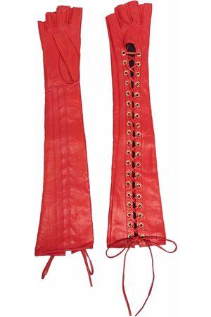 Manokhi Fingerless lace-up leather gloves