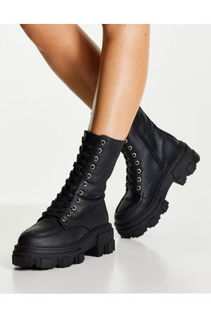 ASOS Acoustic chunky lace up boots in black