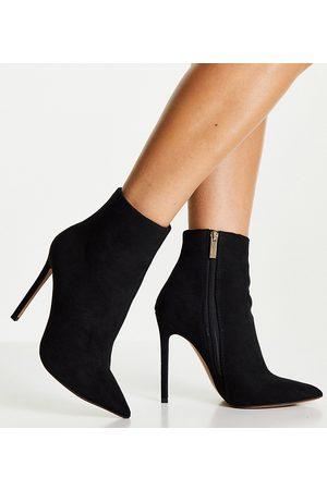 ASOS Mujer Botas altas - Wide Fit Emerald high heeled sock boots in black micro