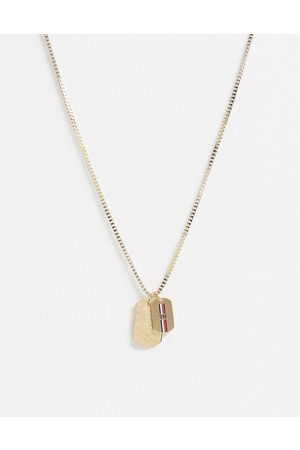 Tommy Hilfiger Hombre Collares - Neckchain in gold with double dog tag pendants