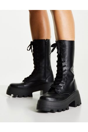 ASOS Aurora chunky lace up boots in black