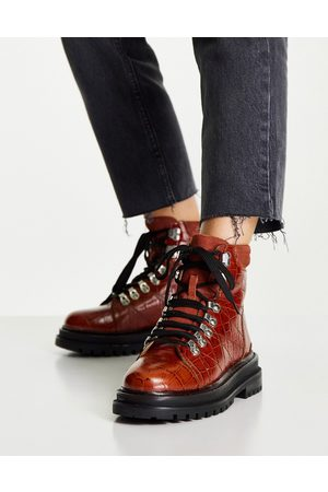 ASOS Mujer Botas y Botines - Adrift chunky lace up hiker boots in tan croc