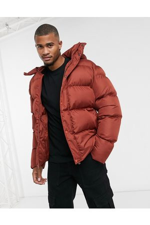 ASOS Recycled puffer jacket with detachable hood in oxblood
