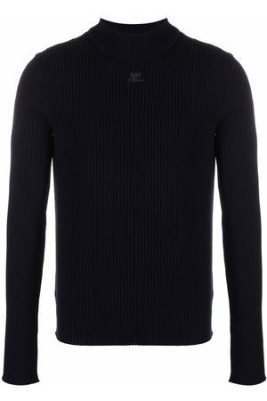 Courrèges Suéter tejido de canalé con cuello tortuga
