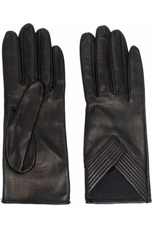 Manokhi Ribbed-detail leather gloves