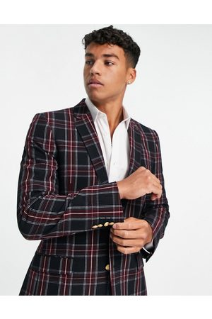 ASOS DESIGN Hombre Sacos - Skinny suit jacket in green tartan check with gold button