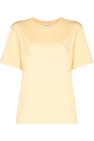 GANNI Logo-embroidered crew-neck T-shirt