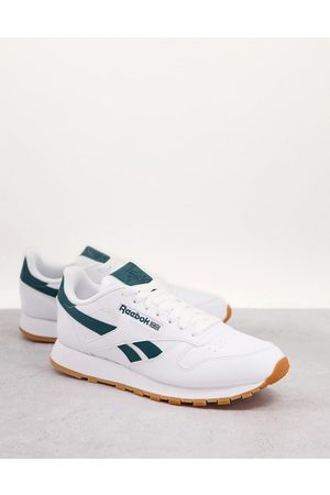 Reebok Classic Leather vegan trainers in white and green