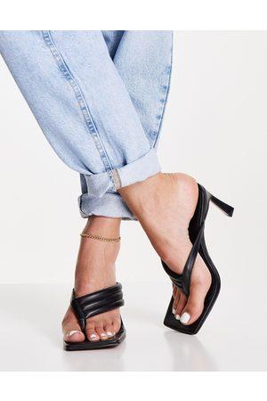 ASOS Herring padded toe thong heeled sandals in black