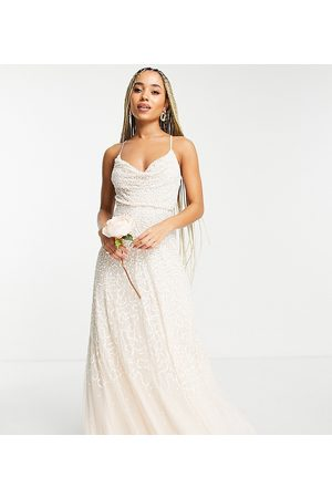 Starlet Bridal cowl neck embellished midaxi dress in scattered pearly sequin
