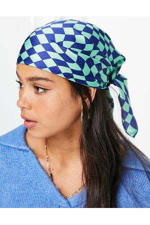 ASOS Medium polysatin headscarf in checkerboard print