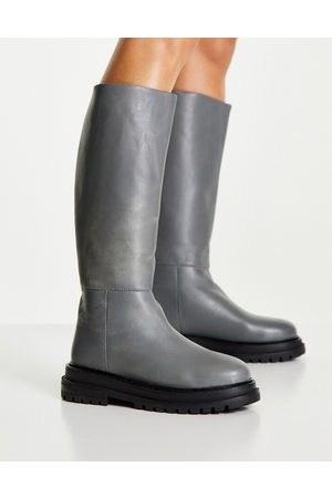 ASOS Cameo premium leather pull on knee boots in grey