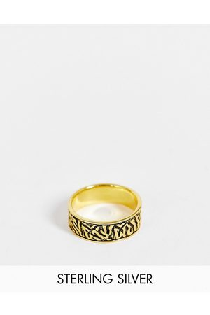 ASOS Sterling silver band ring with wave design in burnished gold tone