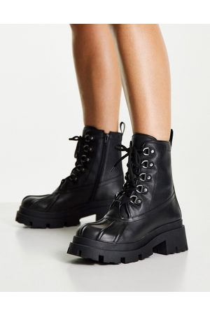 ASOS Apex lace up boots with mud guard in black