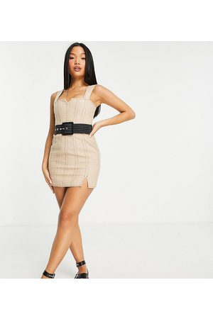 ASOS ASOS DESIGN Petite Structured linen mini dress with contrast seam detail and belt