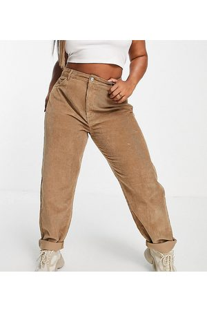 ASOS ASOS DESIGN Curve high rise 'slouchy' mom jeans in biscuit cord