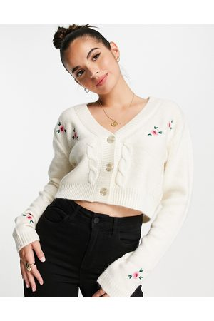 Cotton On Cropped embroidered cable knit cardigan in white