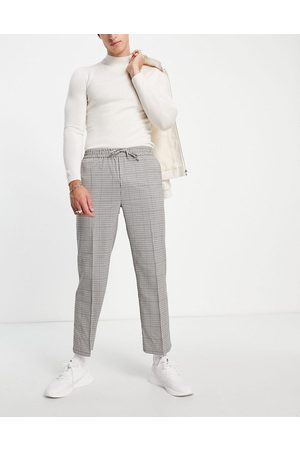 Topman Wide leg crop check pupstooth trousers