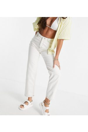 Noisy May Premium high waisted dad jeans in white
