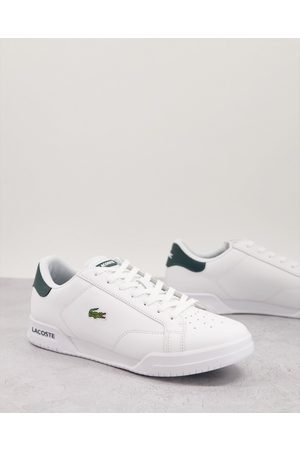 Lacoste Twin serve trainers in white green