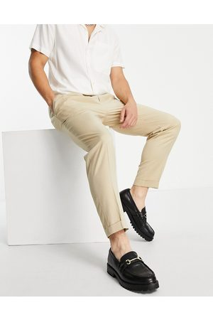 Topman Smart tapered trousers with turn up in ecru