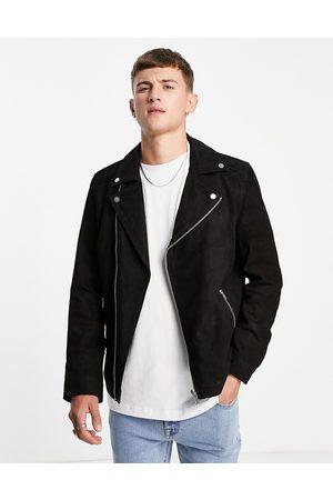 Barneys Originals Suede biker jacket in black