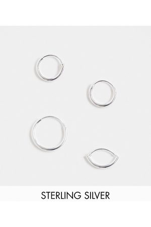 ASOS DESIGN Sterling silver 12mm and 9mm hoop earring set in silver